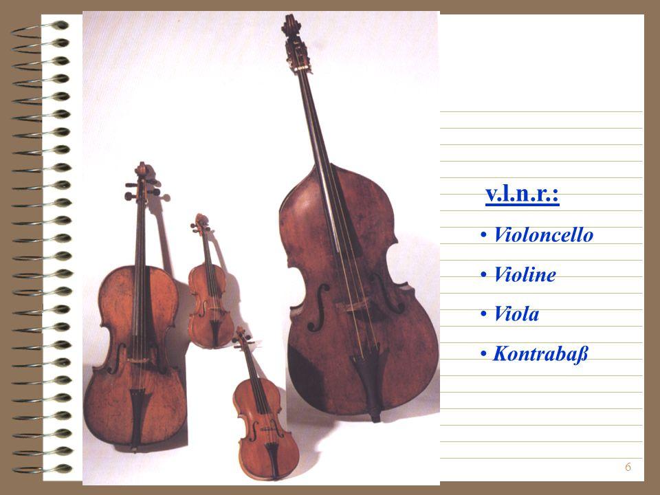 v.l.n.r.: Violoncello Violine Viola Kontrabaß