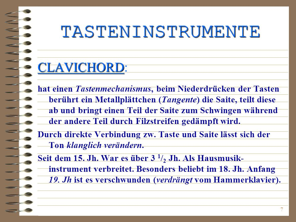 TASTENINSTRUMENTE CLAVICHORD: