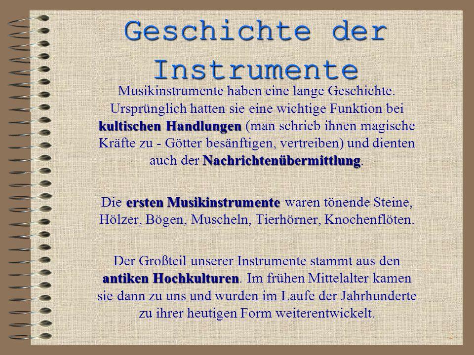 Geschichte der Instrumente
