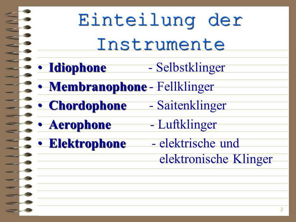 Einteilung der Instrumente
