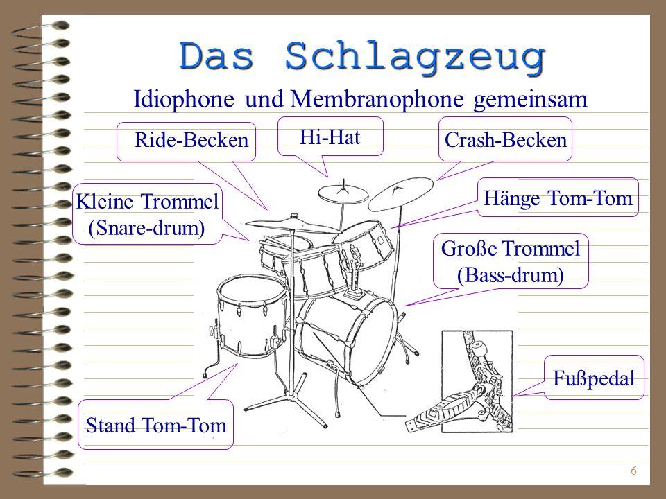 Das Schlagzeug Idiophone und Membranophone gemeinsam