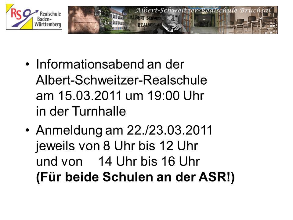 Informationsabend an der Albert-Schweitzer-Realschule am 15. 03