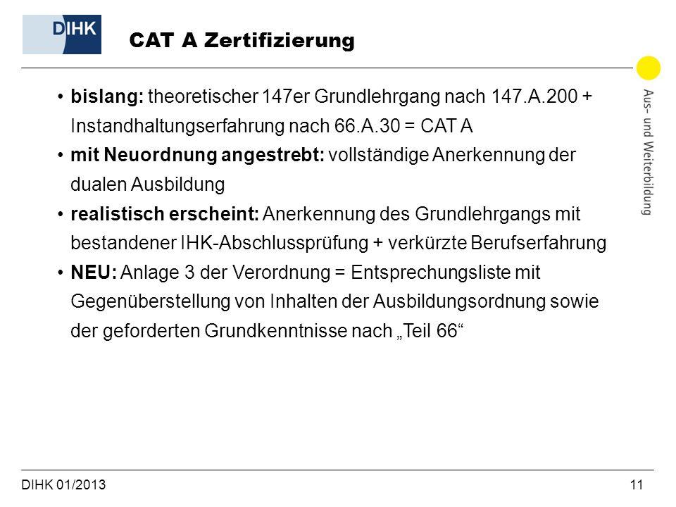 CAT A Zertifizierung bislang: theoretischer 147er Grundlehrgang nach 147.A.200 + Instandhaltungserfahrung nach 66.A.30 = CAT A.