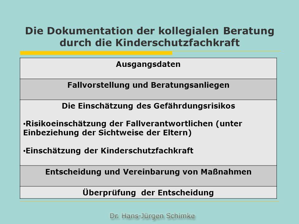 Die Dokumentation der kollegialen Beratung durch die Kinderschutzfachkraft