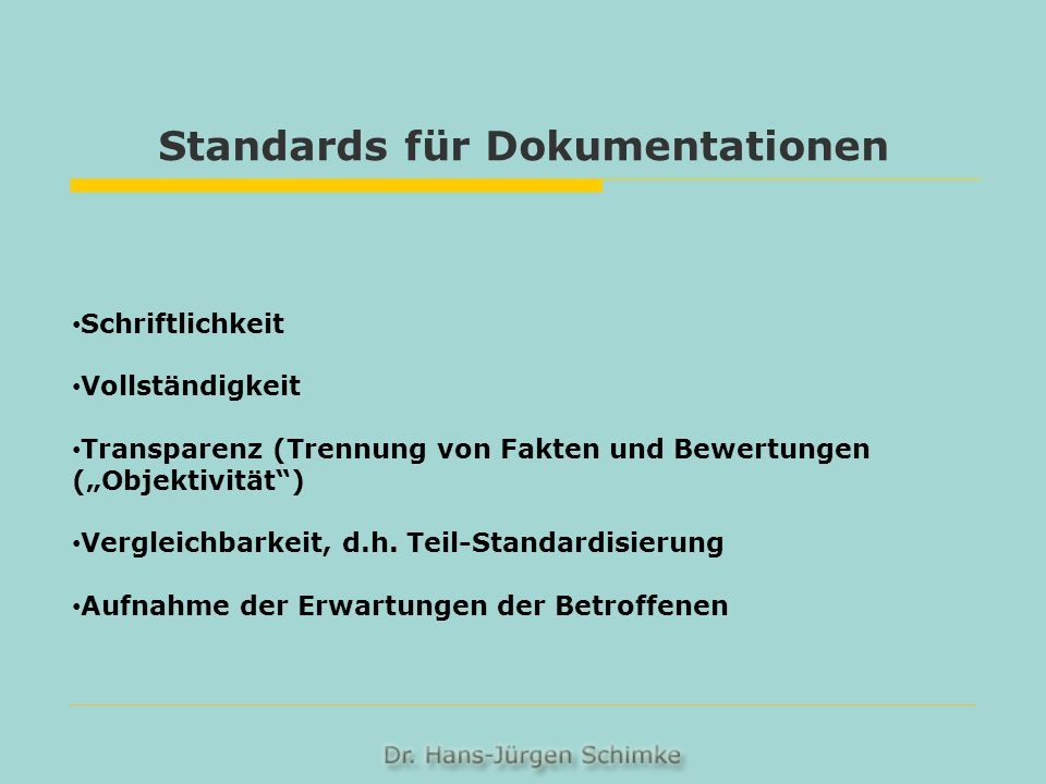 Standards für Dokumentationen