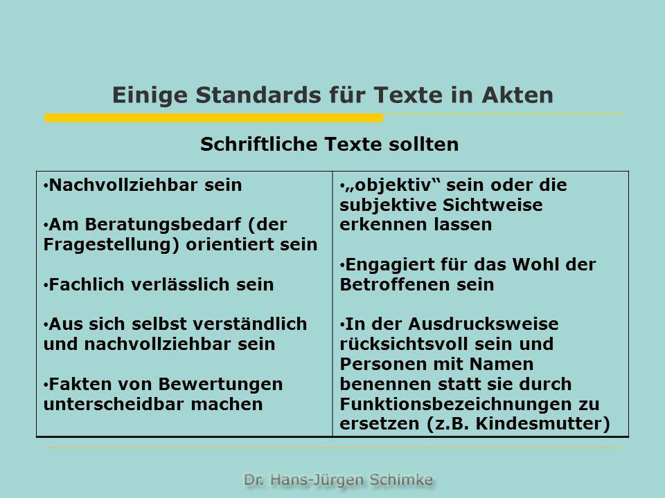 Einige Standards für Texte in Akten