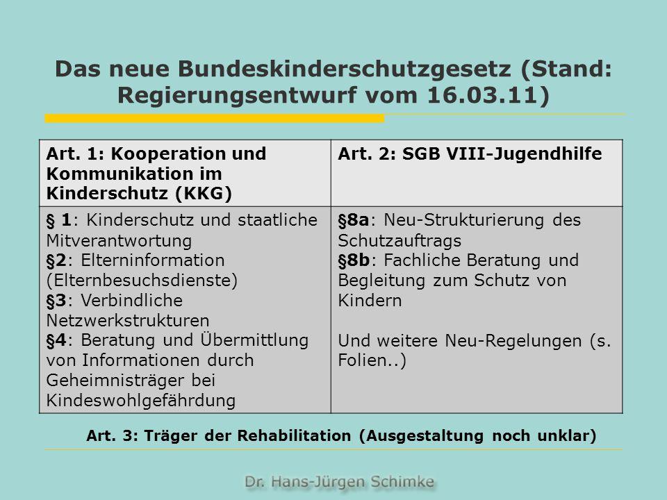 Art. 3: Träger der Rehabilitation (Ausgestaltung noch unklar)