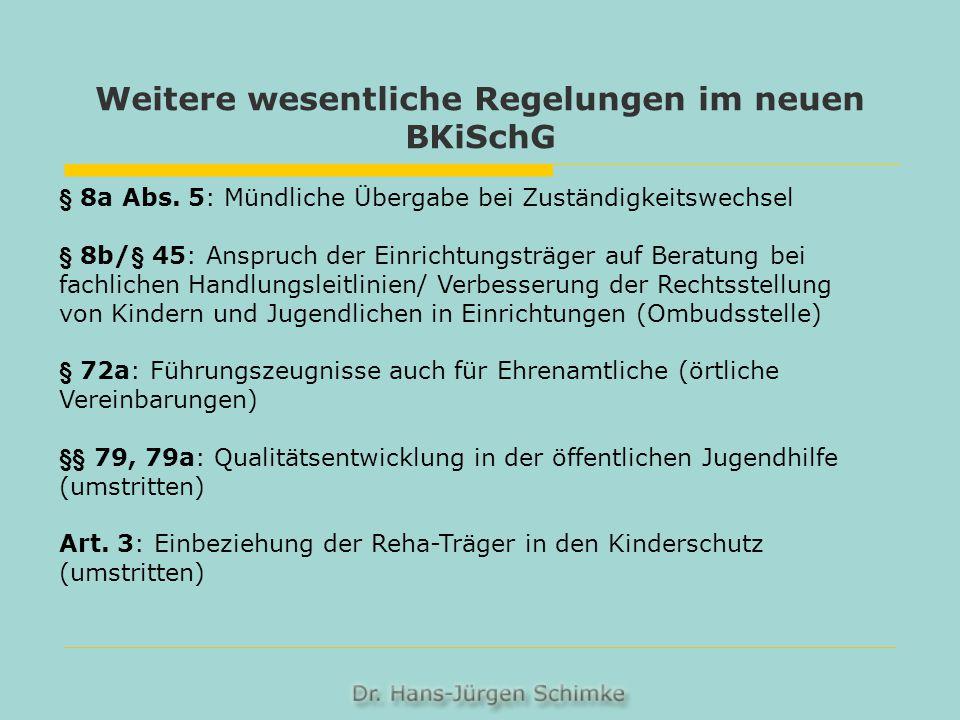 Weitere wesentliche Regelungen im neuen BKiSchG