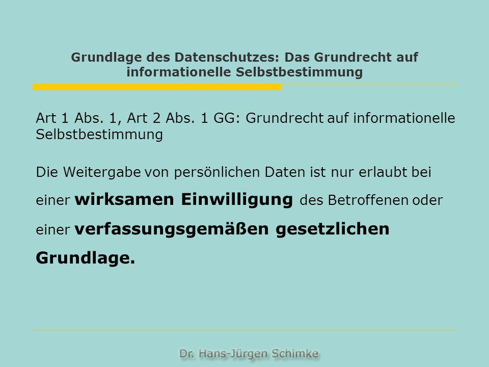 Grundlage des Datenschutzes: Das Grundrecht auf informationelle Selbstbestimmung