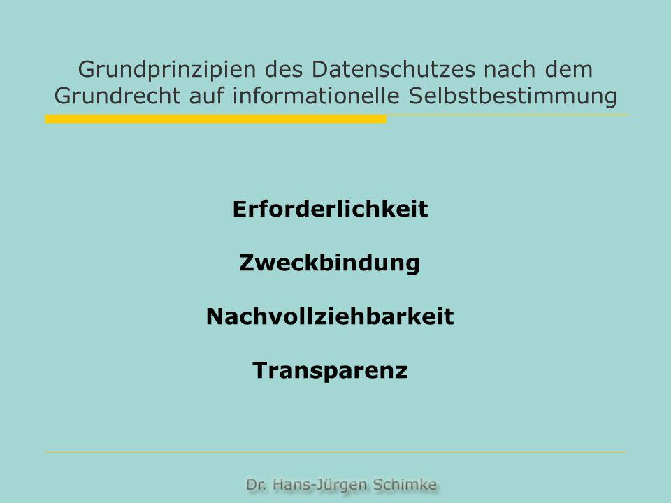 Grundprinzipien des Datenschutzes nach dem Grundrecht auf informationelle Selbstbestimmung