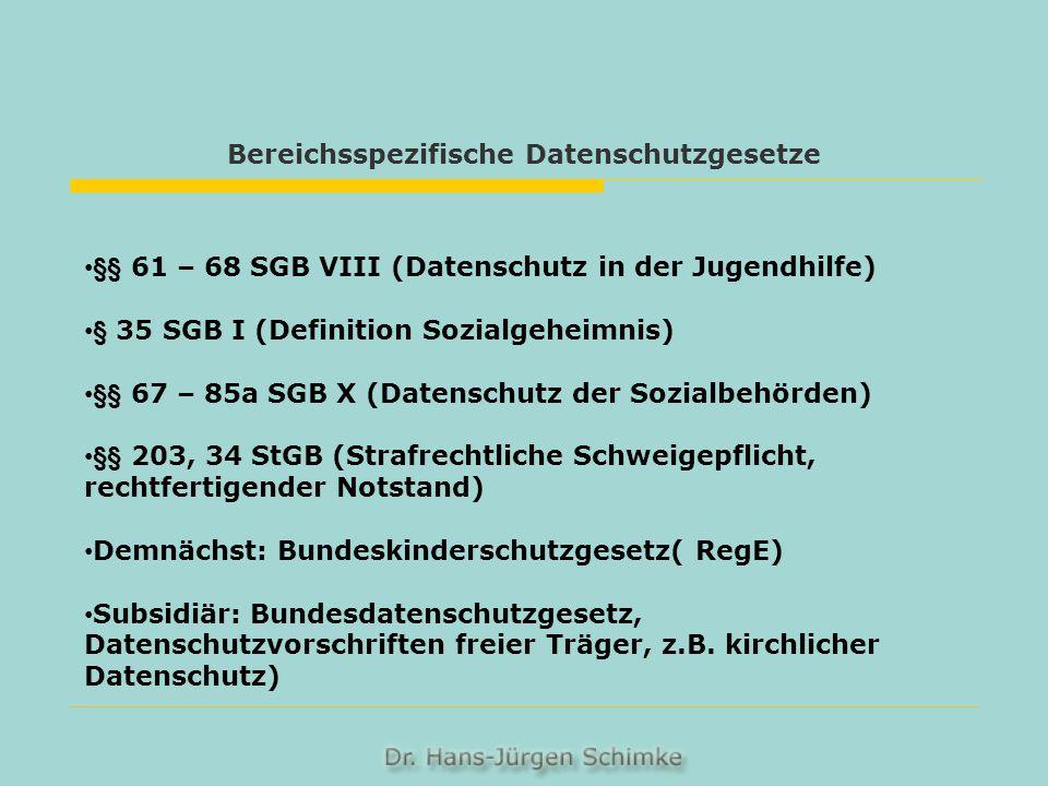 Bereichsspezifische Datenschutzgesetze