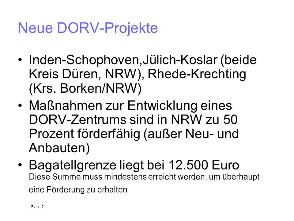 Neue DORV-Projekte Inden-Schophoven,Jülich-Koslar (beide Kreis Düren, NRW), Rhede-Krechting (Krs. Borken/NRW)