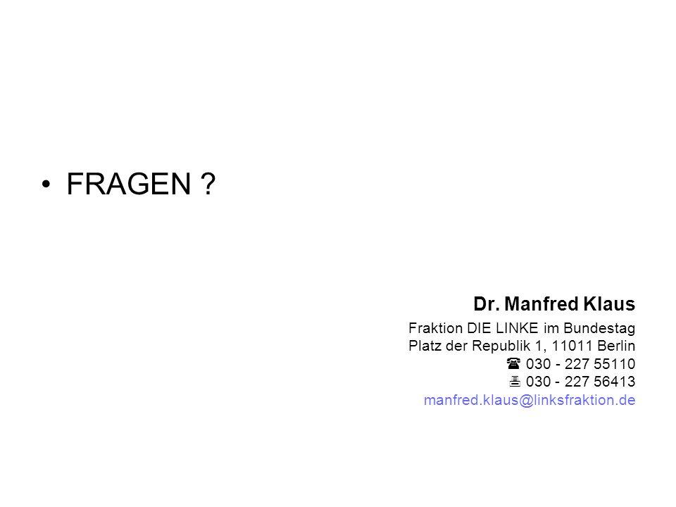 FRAGEN Dr. Manfred Klaus