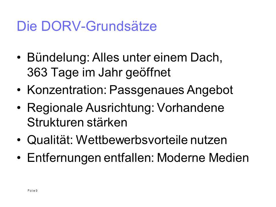 Die DORV-Grundsätze Bündelung: Alles unter einem Dach, 363 Tage im Jahr geöffnet. Konzentration: Passgenaues Angebot.