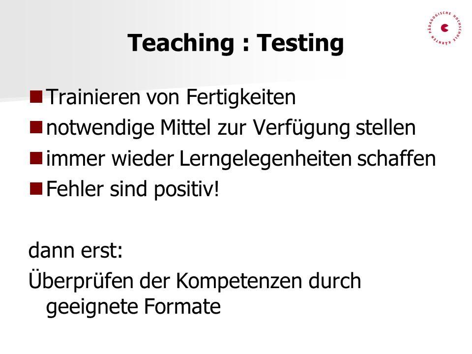 Teaching : Testing Trainieren von Fertigkeiten