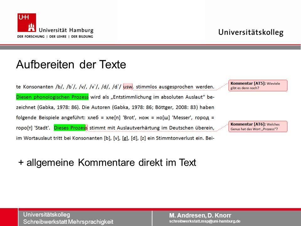 Aufbereiten der Texte + allgemeine Kommentare direkt im Text