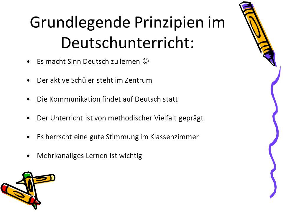 Grundlegende Prinzipien im Deutschunterricht: