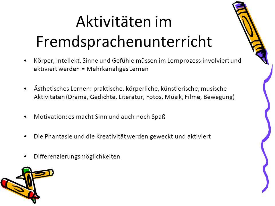 Aktivitäten im Fremdsprachenunterricht