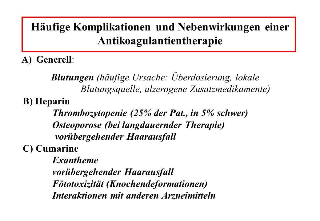 Häufige Komplikationen und Nebenwirkungen einer Antikoagulantientherapie