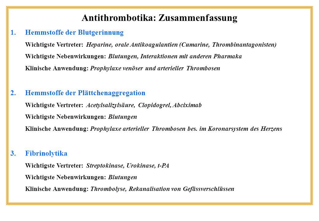 Antithrombotika: Zusammenfassung