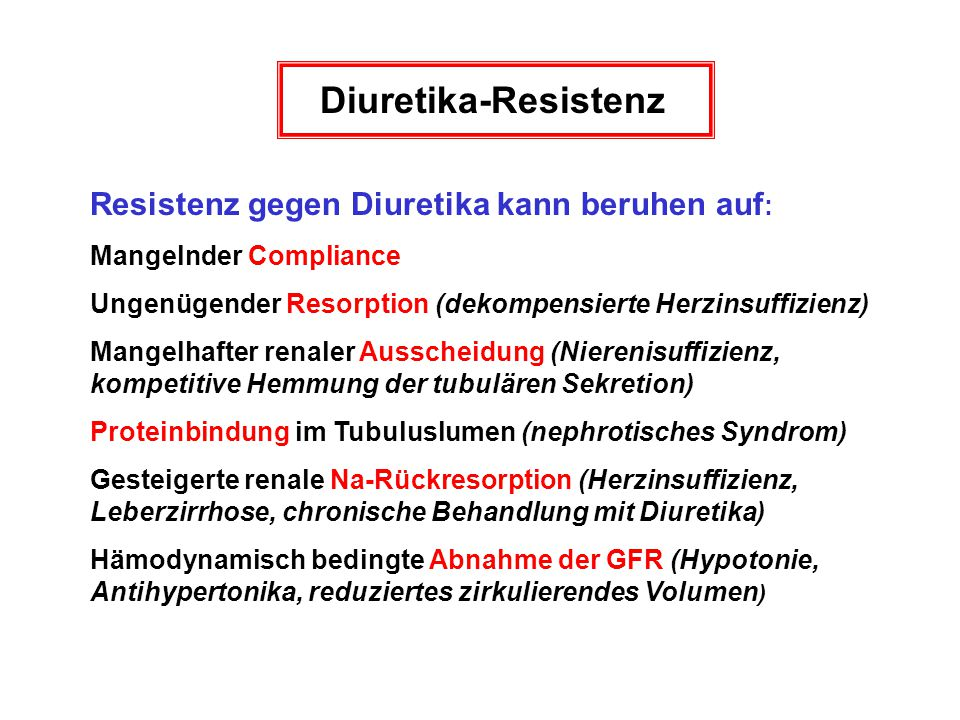Diuretika-Resistenz Resistenz gegen Diuretika kann beruhen auf: