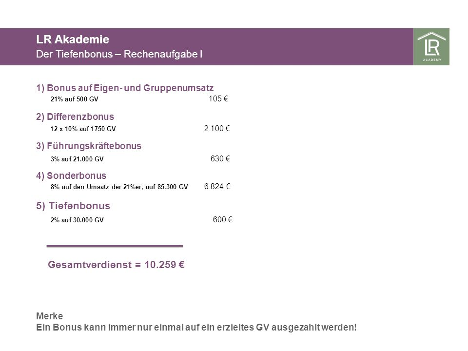 LR Akademie Der Tiefenbonus – Rechenaufgabe I 5) Tiefenbonus