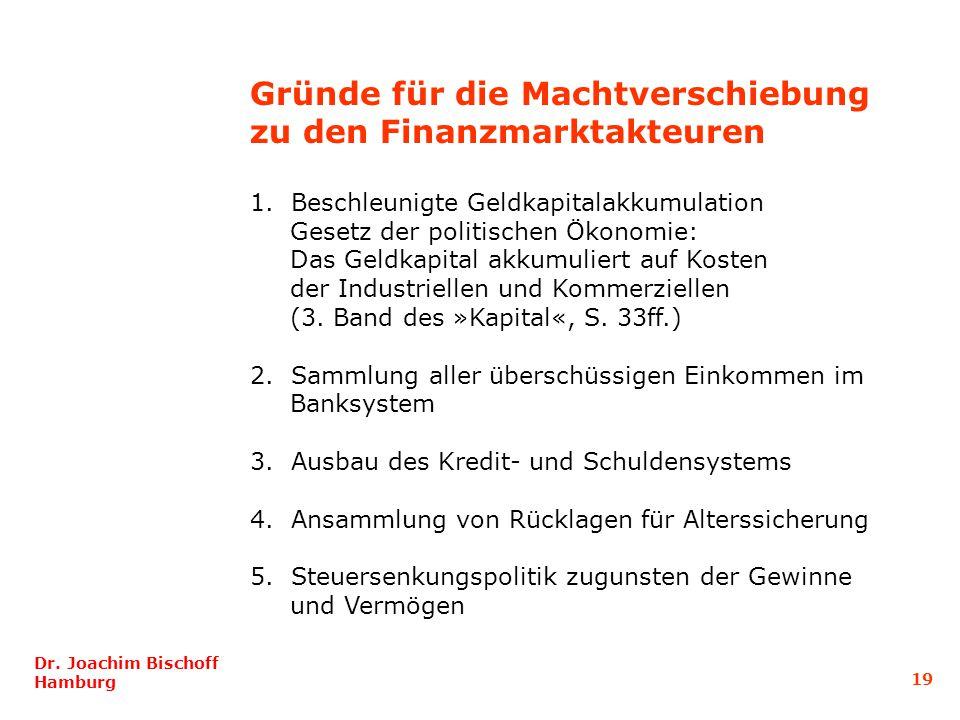Gründe für die Machtverschiebung zu den Finanzmarktakteuren