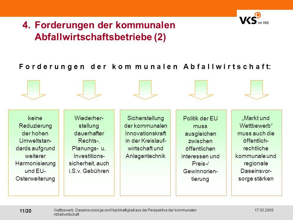 4. Forderungen der kommunalen Abfallwirtschaftsbetriebe (2)
