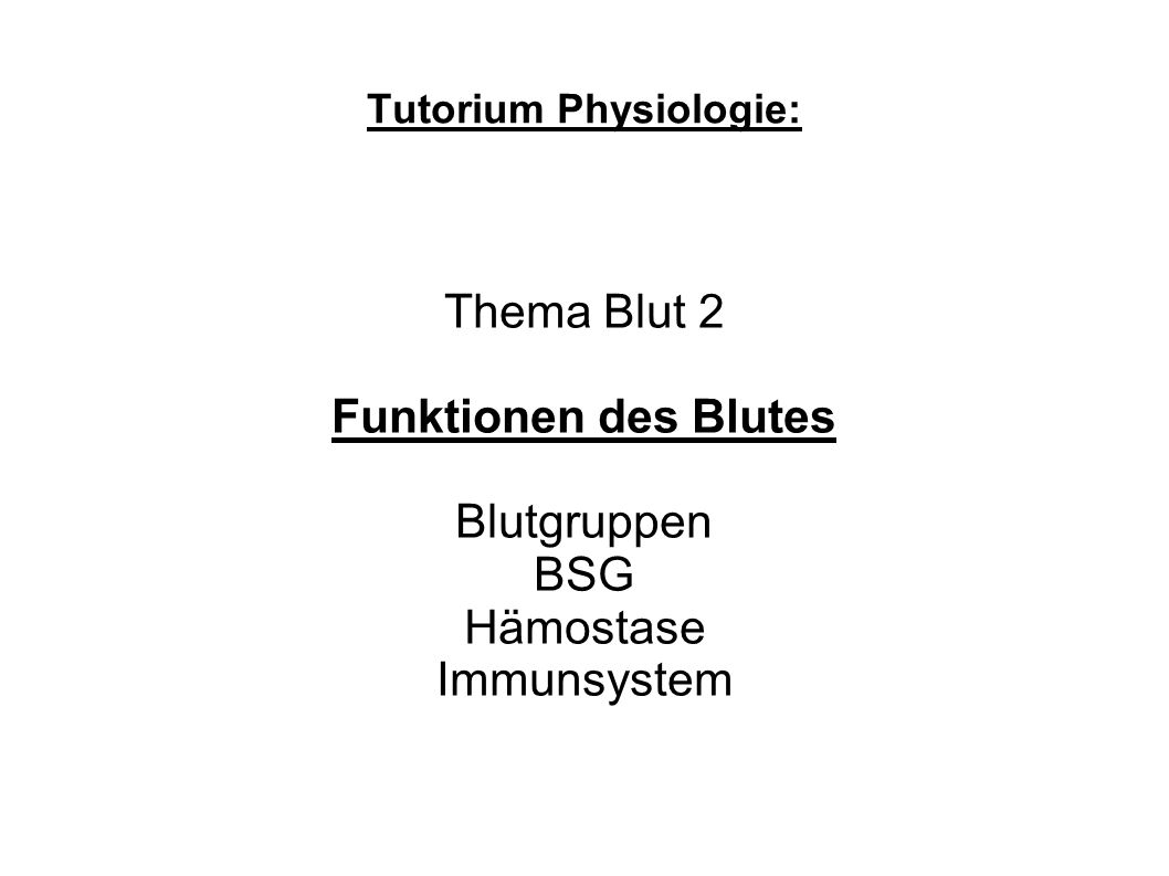 Tutorium Physiologie: