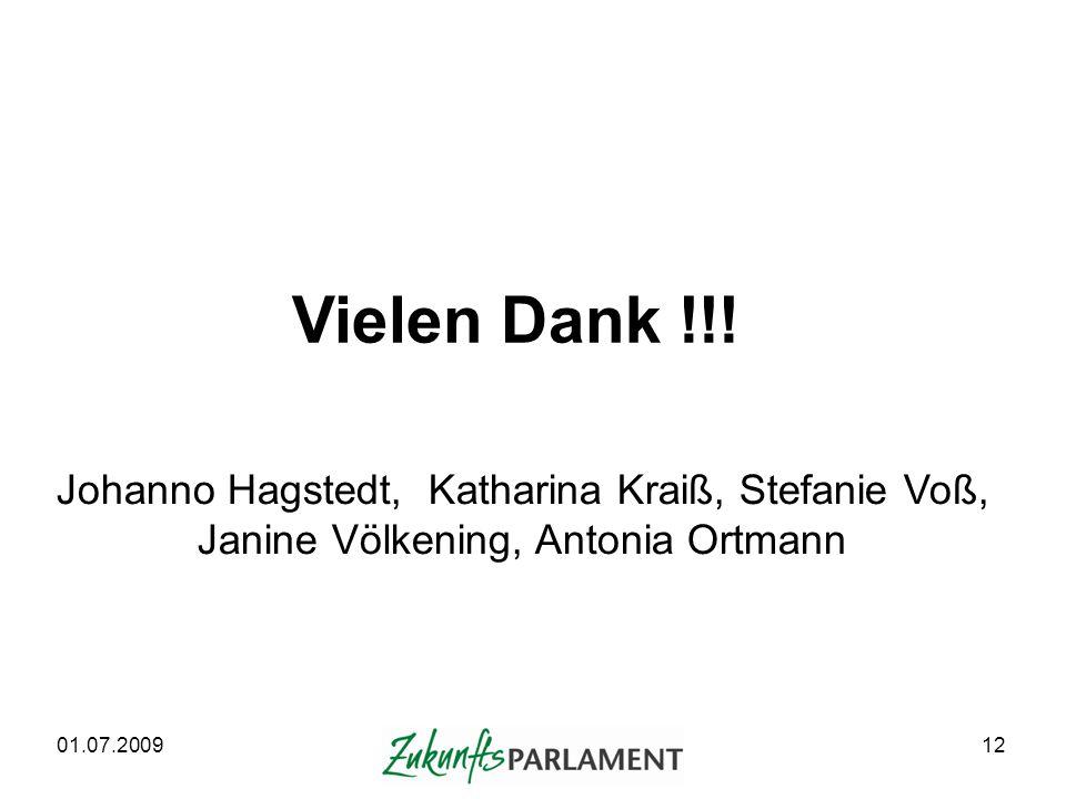 Vielen Dank !!! Johanno Hagstedt, Katharina Kraiß, Stefanie Voß,