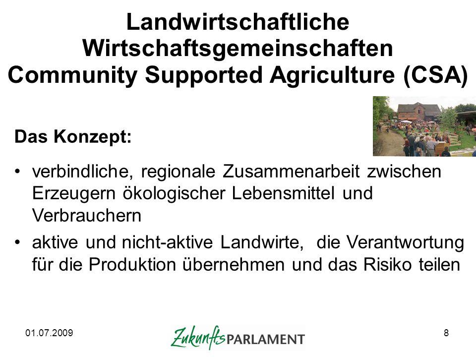 Landwirtschaftliche Wirtschaftsgemeinschaften Community Supported Agriculture (CSA)