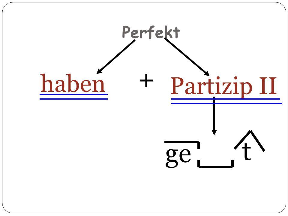Perfekt + haben Partizip II t t ge