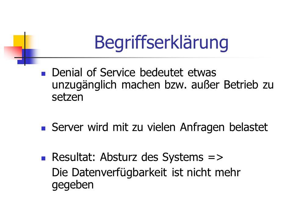Begriffserklärung Denial of Service bedeutet etwas unzugänglich machen bzw. außer Betrieb zu setzen.