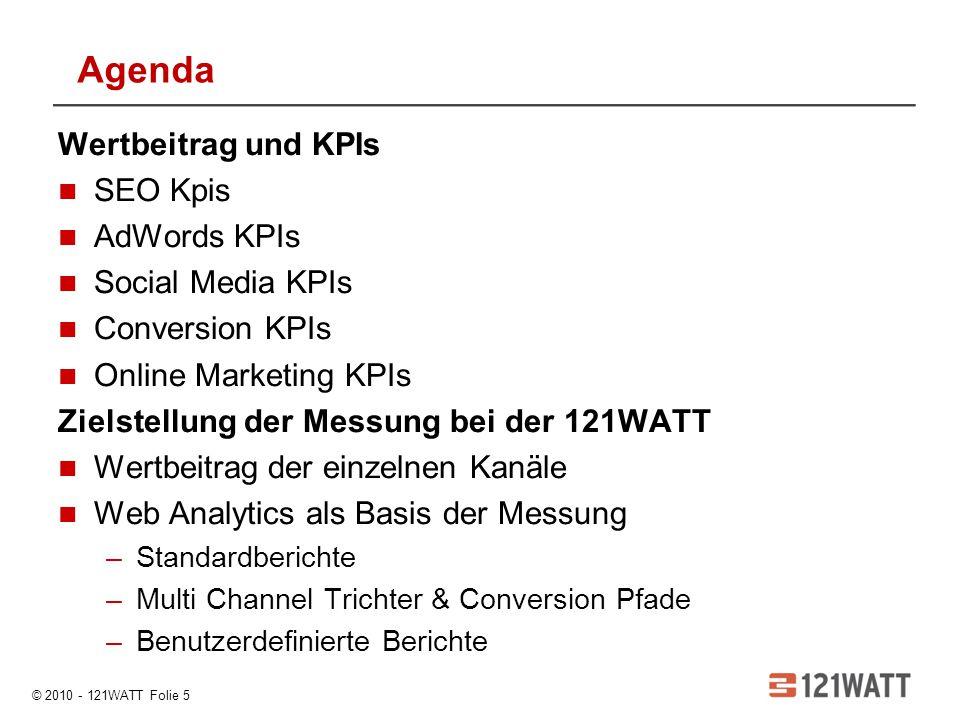 Agenda Wertbeitrag und KPIs SEO Kpis AdWords KPIs Social Media KPIs