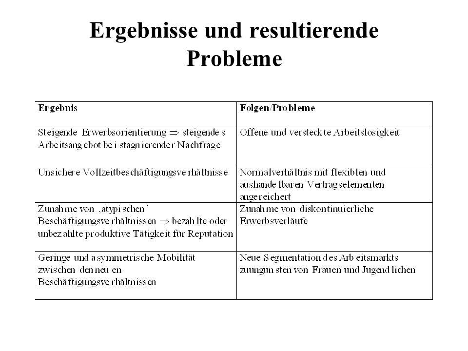 Ergebnisse und resultierende Probleme