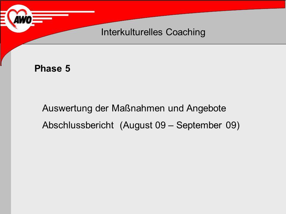 Phase 5 Auswertung der Maßnahmen und Angebote Abschlussbericht (August 09 – September 09)