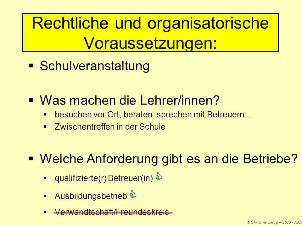 Rechtliche und organisatorische Voraussetzungen:
