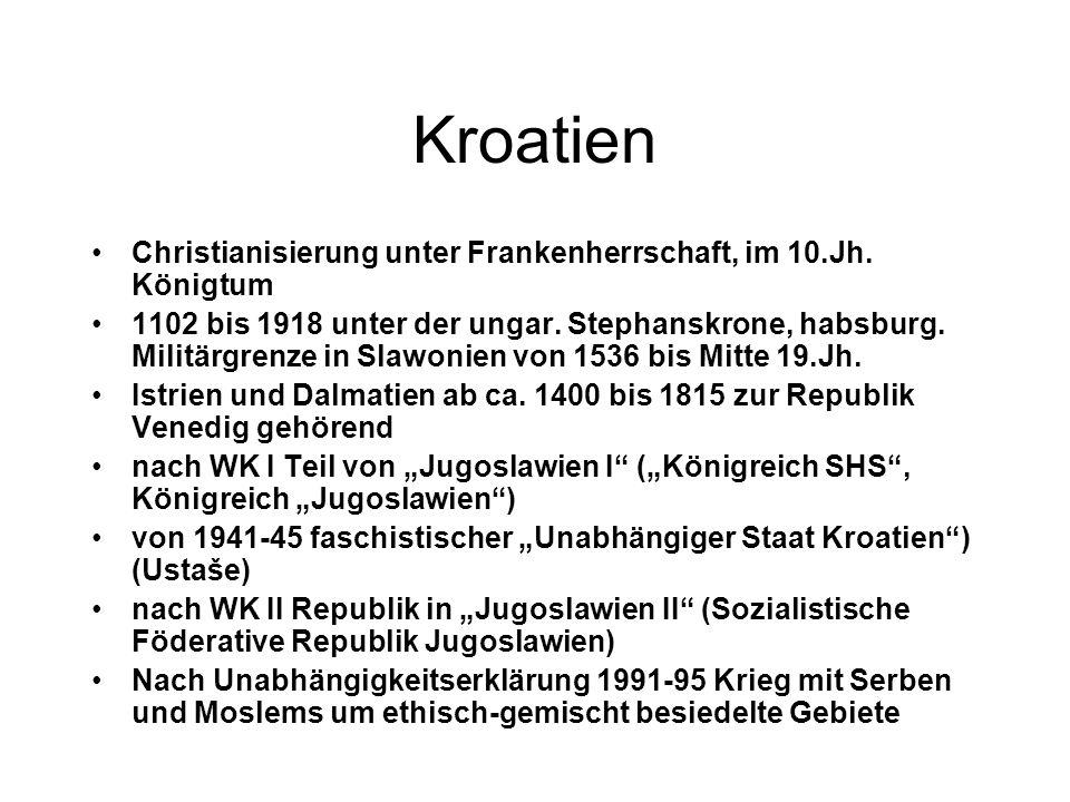 Kroatien Christianisierung unter Frankenherrschaft, im 10.Jh. Königtum