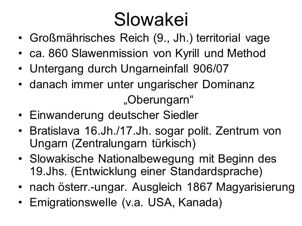 Slowakei Großmährisches Reich (9., Jh.) territorial vage