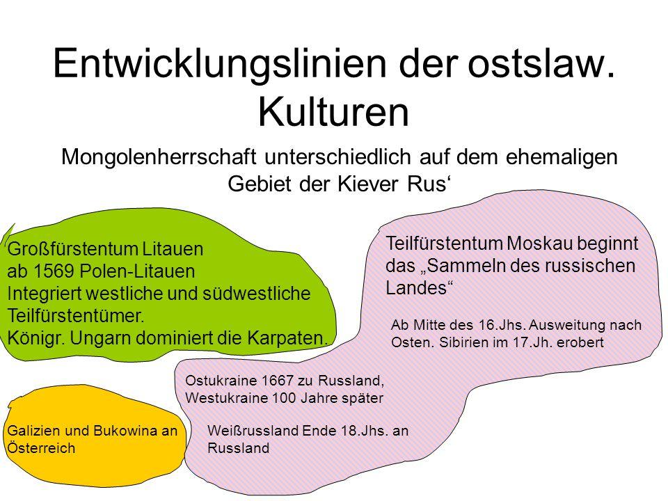Entwicklungslinien der ostslaw. Kulturen