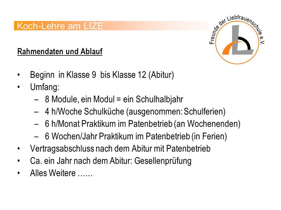 Beginn in Klasse 9 bis Klasse 12 (Abitur) Umfang: