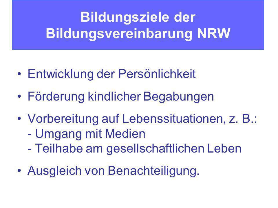 Bildungsziele der Bildungsvereinbarung NRW