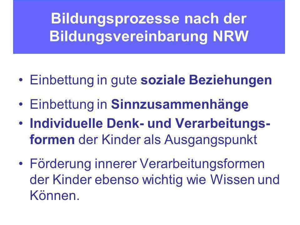 Bildungsprozesse nach der Bildungsvereinbarung NRW