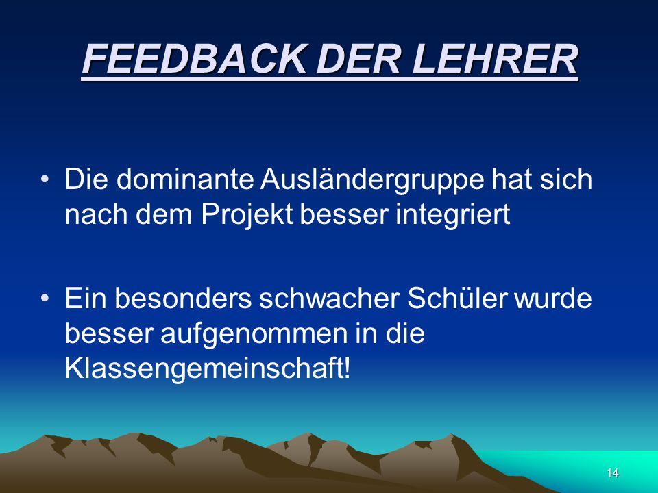 FEEDBACK DER LEHRER Die dominante Ausländergruppe hat sich nach dem Projekt besser integriert.