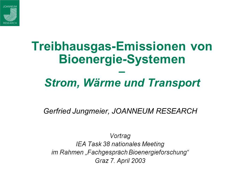 Treibhausgas-Emissionen von Bioenergie-Systemen – Strom, Wärme und Transport