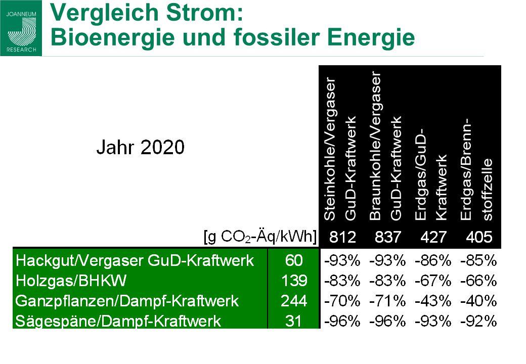 Vergleich Strom: Bioenergie und fossiler Energie