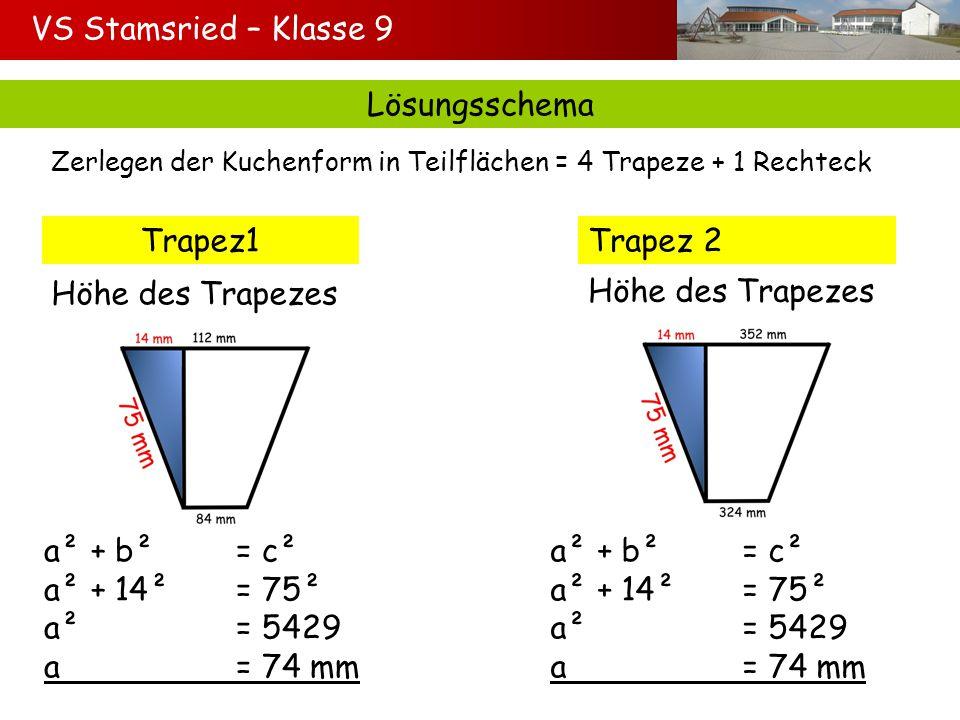 VS Stamsried – Klasse 9 Lösungsschema Trapez1 Trapez 2