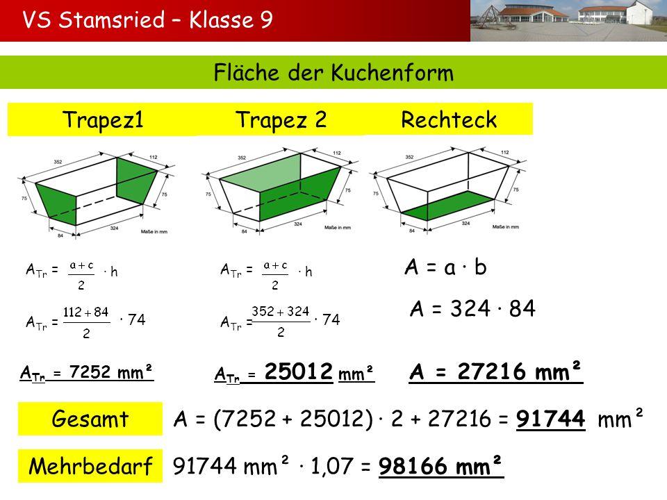 VS Stamsried – Klasse 9 Fläche der Kuchenform Trapez1 Trapez 2