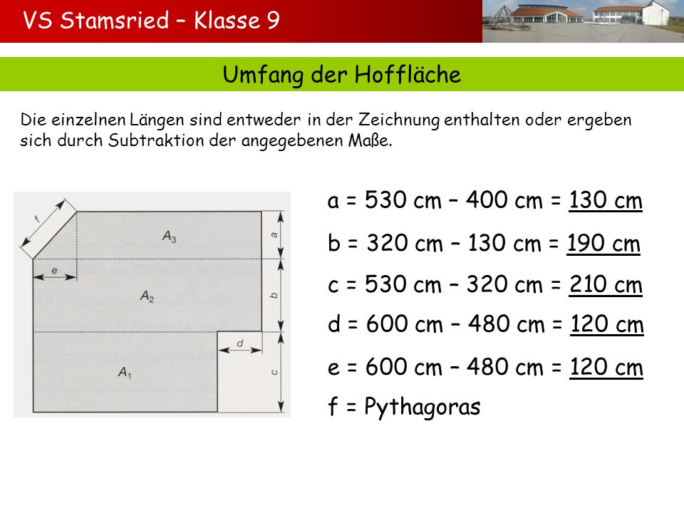 VS Stamsried – Klasse 9 Umfang der Hoffläche