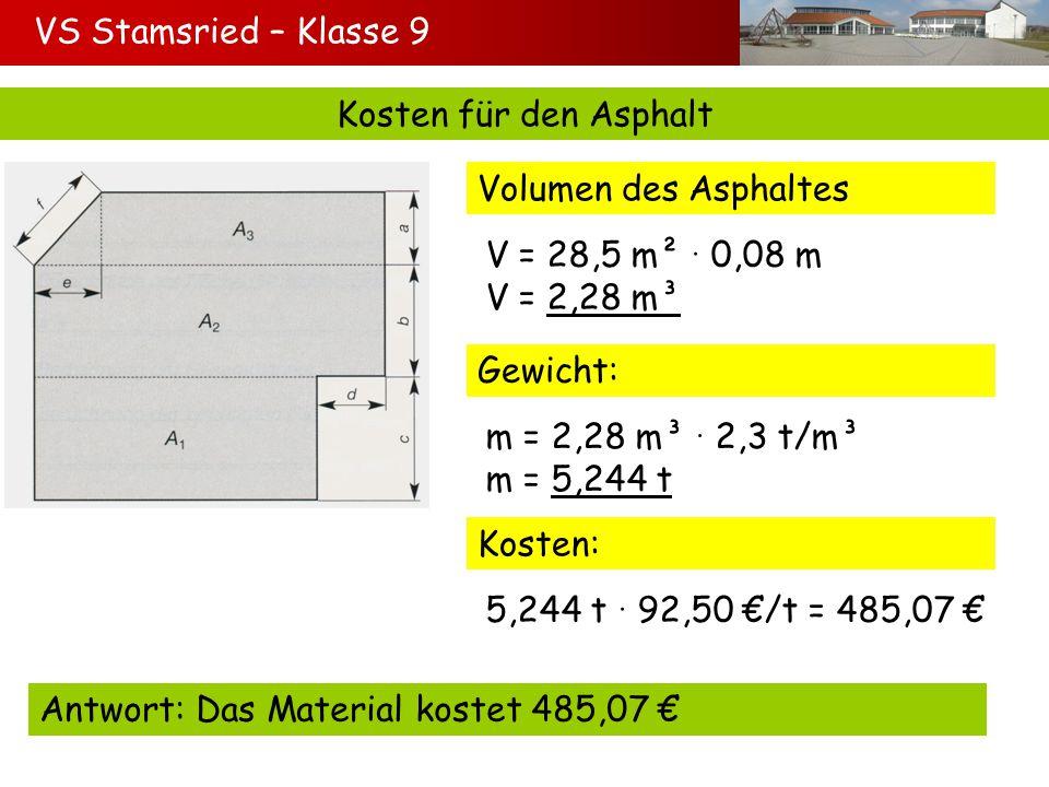 VS Stamsried – Klasse 9 Kosten für den Asphalt. Volumen des Asphaltes. V = 28,5 m²  0,08 m. V = 2,28 m³.